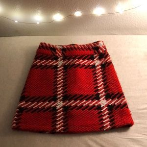 Topshop Plaid High-rise Knitted Skirt
